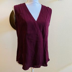 THEORY SILK CROSS FRONT blouse top burgundy S